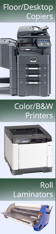 We sell, lease and service copiers, printers and roll laminators